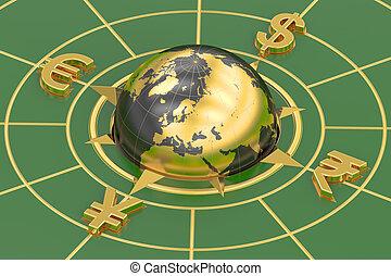 concept, rendre, global, devises, 3d