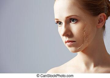 concept, renouvellement, beauté, problèmes, soin peau, rajeunissement