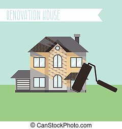 Concept renovation illustrations. House remodeling, flat design house with paint roller. Vector