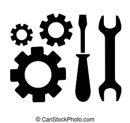concept repair symbol with sprocket, wrench and screwdriver...