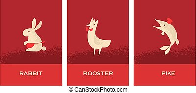 concept restaurant poster set with french food - rooster, pike, rabbit. vector illustration rith cafe signs set