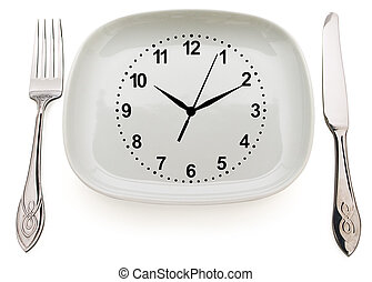 Concept restrictions in food - Dishware and clock. Concept...