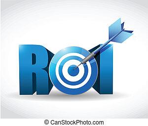 concept., retour, cible, business, investissement
