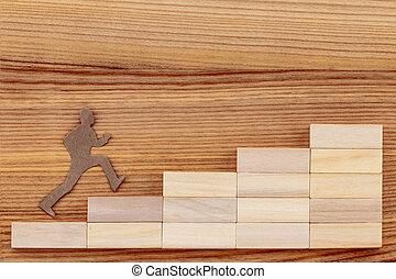 concept, reussite, échelle bois, buts, table