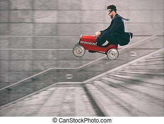 concept, reussite, business, obtenir, voiture, concurrence, bas, va, others., homme, escalier, imprudent, avant