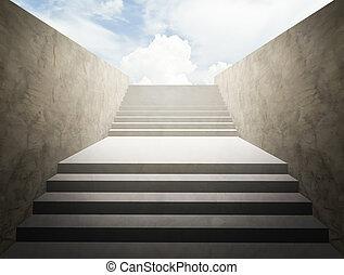 concept, reussite, business, réussi, ciel, fond, escalier