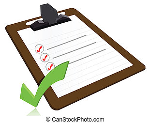 concept, reussite, liste, presse-papiers, chèque, frais