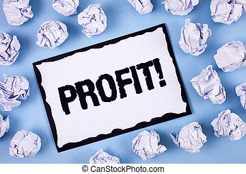 concept, revenu, texte, dans, papier collant, bleu, gagné, profit, écriture, note, arrière-plan., écrit, argent, blanc, call., business, motivation, paiement, salaire, balles, mot, uni