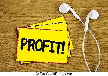 concept, revenu, texte, jaune, papier collant, suivant, gagné, profit, écriture, note, écrit, argent, call., it., handsfree, business, motivation, fond, paiement, salaire, mot, bois