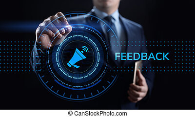 concept., revue, satisfaction, client, testimonials, business, réaction, service