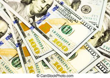 concept, richesse, édition, argent, dollar, billets banque, monnaie, nouveau, 100, propriété