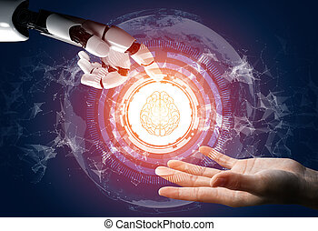 concept., robot, futuriste, intelligence artificielle