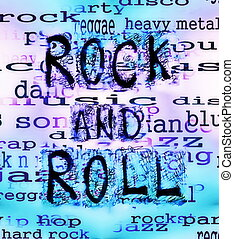 Concept Rock and roll doodle word