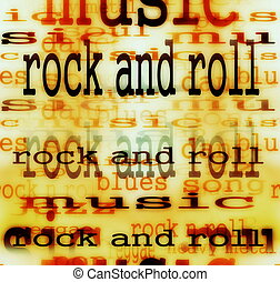 Concept Rock and roll word backgrounds and texture
