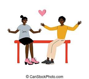 concept, romantische, zittende , paar, illustratie, amerikaan, vector, bankje, afrikaan, datering, eerst