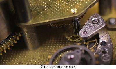 concept, rouage horloge, engrenage, vieux, close-up., ...