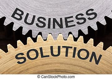 concept, roues dentées, solution, business, enclenché
