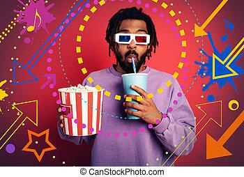 concept, rouges, amusement, ruisseler, fond, regarder, tv., divertissement, garçon, a, film.