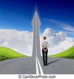 concept, route, reussite