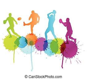concept,  rugby, couleur, joueur, vecteur, eclabousse, fond, actif,  Sport