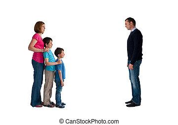 concept, séparation, famille, divorce, isolé, femme, fond, blanc, enfants, homme