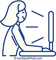 concept., série, vue, ligne, vecteur, symbole, plat, icône, signe, tv, contour, illustration.