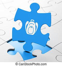 concept:, sac à dos, education, puzzle, fond