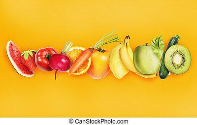 concept, sain, bannière, nourriture, fruits., coloré