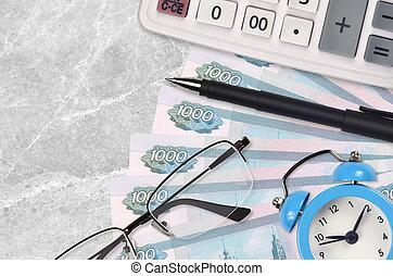 concept., saison, temps, pen., business, ou, impôts, calculatrice, prêt, factures, impôt, rubles, paiement, lunettes, russe, 1000, payer