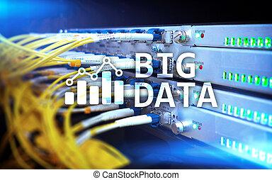 concept, salle, grand, moderne, analytics, serveur, arrière-plan., données, technologie internet