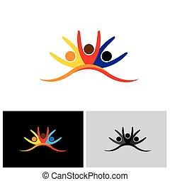 concept, samen, vector, pictogram, vrienden, vrolijke