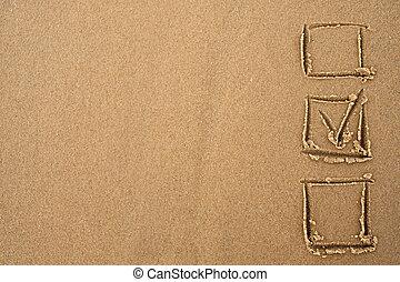 concept, sand., choice., getrokken, vragenlijst, tick