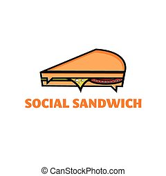 concept, sandwich, vecteur, conception, gabarit, social