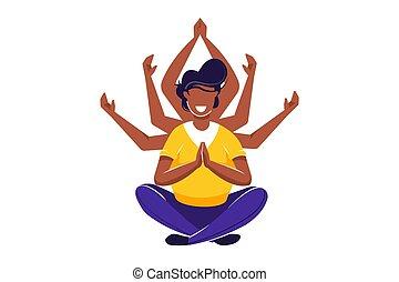 concept, santé, méditation