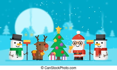 Concept Santa Claus Reindeer Snowmen and Christmas Tree