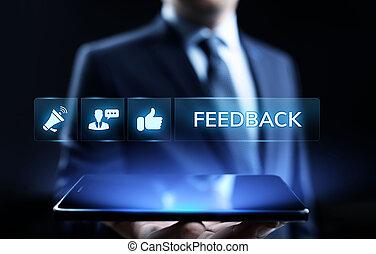 concept., satisfaction, réaction, revue, testimonials, service clientèle, business