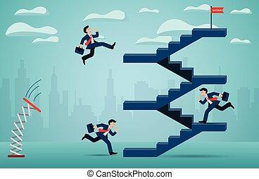 concept., scala, cartone animato, rosso, direzione, finanza, andare, startup., vettore, creativo, successo, affari, flag., correndo, goal., uomo affari, idea., concorrenza, su, illustrazione
