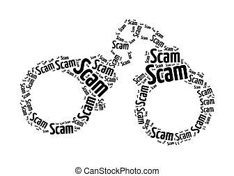 concept, scam, texte, graphique, arrangement, menotte
