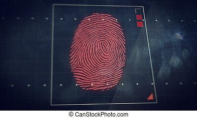 concept, scanning., résumé, système, arrière-plan., empreinte doigt, sécurité, technologie