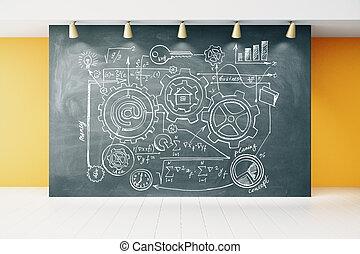 Concept scheme on blackboard in empty room with white wooden floor