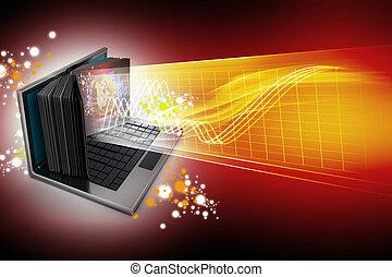 concept., schermo, libro, laptop, e-imparando