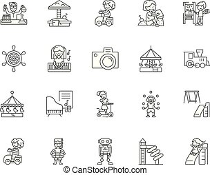 concept, schets, amusement, set, iconen, illustratie, vector, lijn, tekens & borden, kinderen