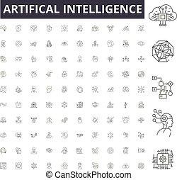 concept, schets, set, intelligentie, iconen, illustratie, vector, artifical, lijn, tekens & borden