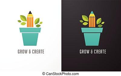 concept, science, -, idée, education, croissant, crayon, icône