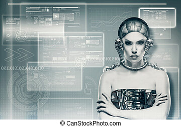 concept, science, techno, portrait., femme, technologie