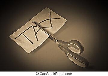 Concept, Scissor cutting the word TAX