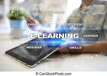 concept., screen., virtuel, internet, e-apprendre, education