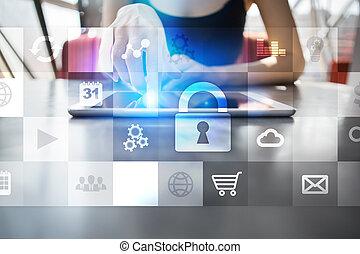 concept, screen., virtuel, protection, cyber, sécurité, données