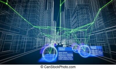 concept, seamless., résumé, rues, bâtiments, fait boucle, technologie, 3840x2160., design., ville, high-tech, fonctionnement, concept., système, animation, intelligent, 3d, uhd, voitures, stylisé, grille, poursuite, 4k, futuriste