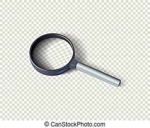 concept, search., réaliste, shadow., isolé, élément, verre, vecteur, conception, arrière-plan., magnifier, transparent